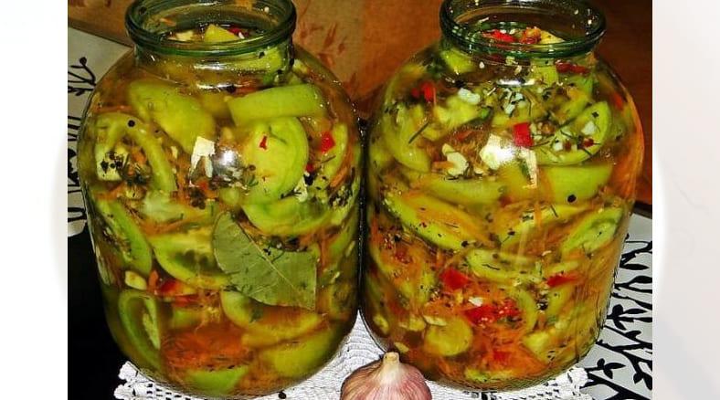 Зеленые помидоры С горчицей и чесноком