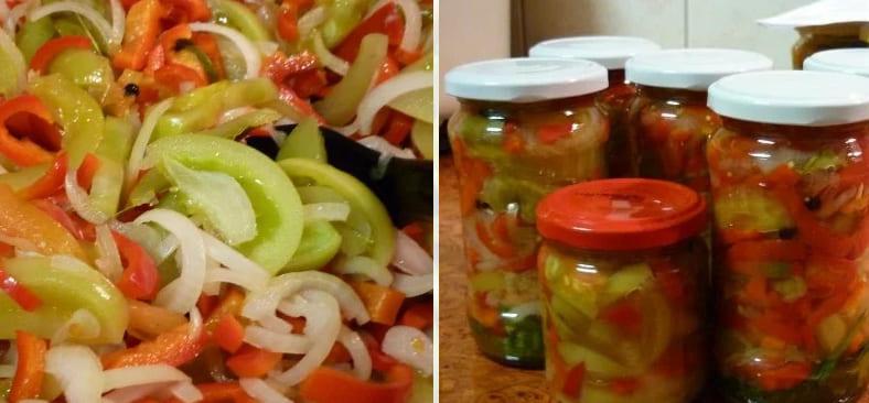 Салат из зеленых помидоров без стерилизации